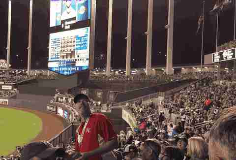 Kansas City Royals peanut guy throwing GIF