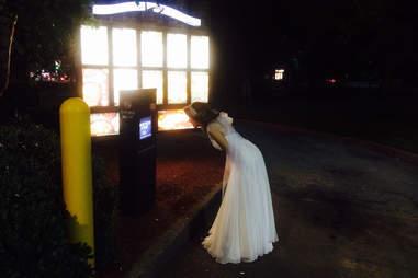 Bride in Taco Bell drive-thru