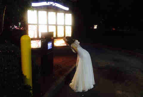 Bride in Taco Bell drive-thru