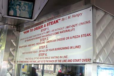 Pat's King of Steaks menu