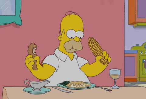 Homer Simpson eating