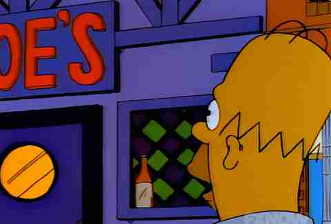 Homer Simpson looking at Moe's