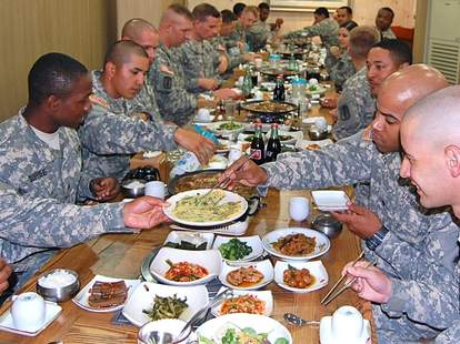Soldiers eating