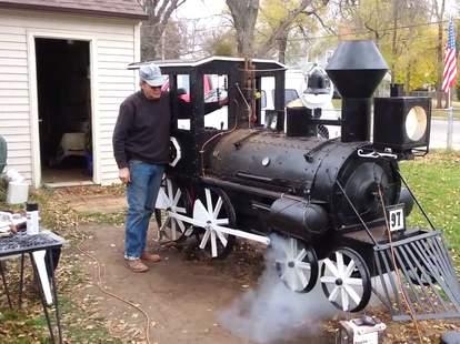 train steam engine bbq smoker