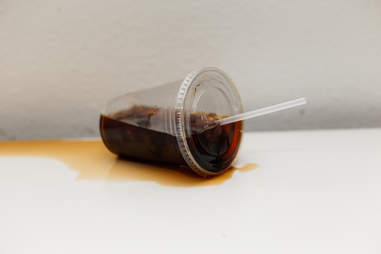 cold coffee spilled