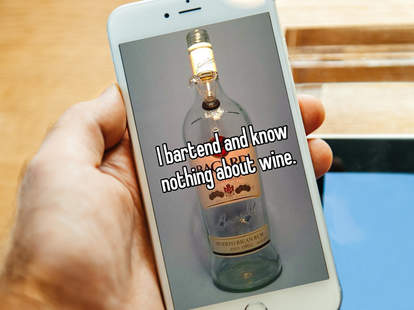 Bartender Whisper confession on phone