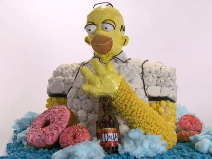 homer simpson donuts candy statue