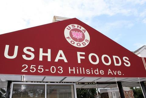 exterior of usha foods in floral park the bronx new york city nyc