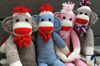 Cracker Barrel sock monkeys