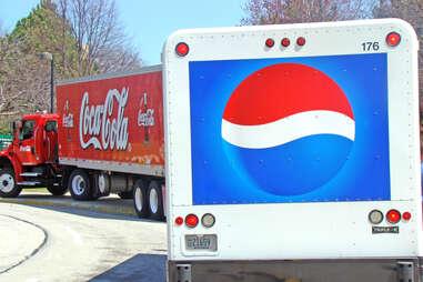 Coke and Pepsi trucks