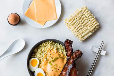 Bacon, eggs, and cheese ramen — Thrillist Recipes