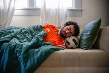 sleeping soccer