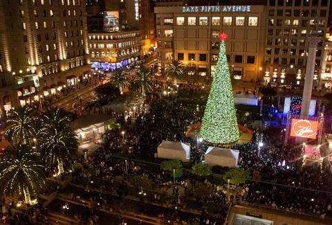 SF Holiday Events - Union Square Christmas Tree SantaCon Elf Party ...