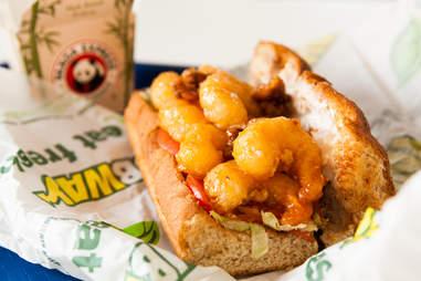 Mall Food Court Mashup: Subway veggie sub + Panda Express honey walnut shrimp