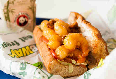 Mall Food Court Mashup: Subway veggie sub + Panda Express honey walnut shrimp