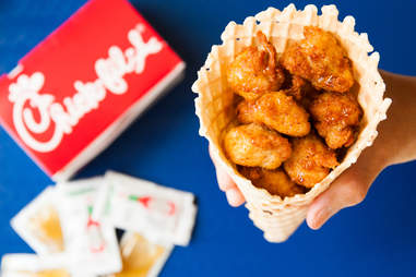Mall Food Court Mashup: Chick-fil-A nuggets + Dairy Queen waffle cone