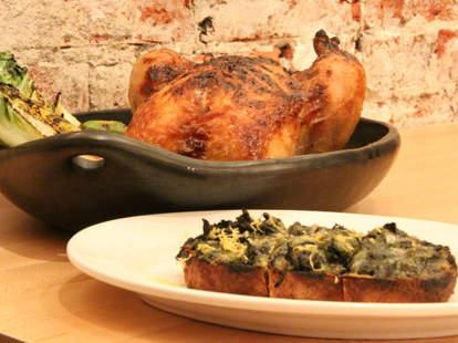 Vernick Food & Drink Whole Chicken & Avocado spinach radish on toast--Philadelphia