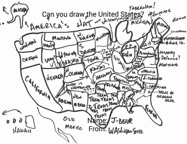 Can You Draw All 50 Us States Thrillist - Al-franken-draws-us-map