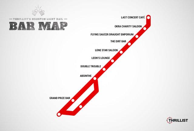 Houston Light Rail Bar Map Bars At Every Stop