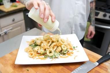 Calamari salad dressed