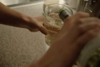 Carrie drinking on Homeland season 2, episode 3