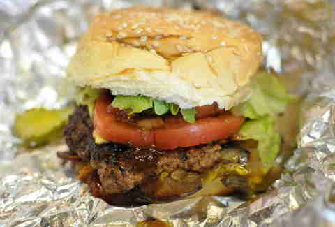 five guys bacon cheeseburger