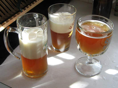 Beers with varying degrees of foam