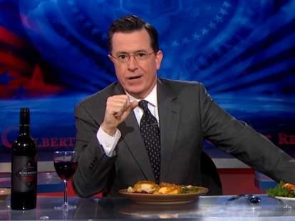 Stephen Colbert eating Thanksgiving dinner