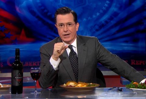 Stephen Colbert eating Thanksgiving dinner