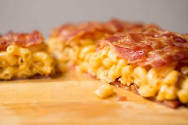 Bacon weave mac 'n cheese quesadilla