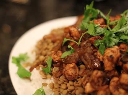 moroccan chicken rice lentils