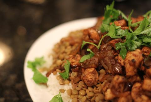 moroccan chicken rice lentils
