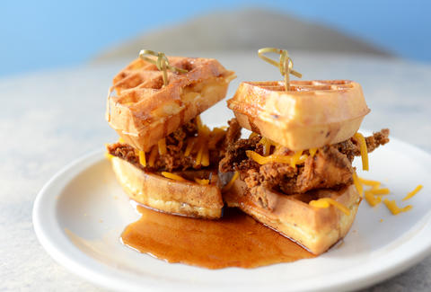 Chicken and waffle slider at BC Cafe Davie