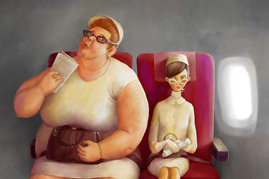 Fat person on airplane
