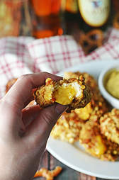 pretzel crusted beer cheese chicken nuggets