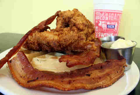 bacon chicken and waffles