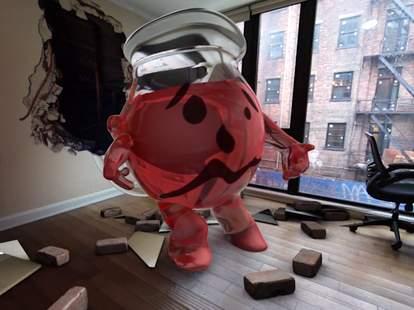 Kool-Aid Man running through wall