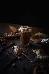 Hot chocolate with sea salt whipped cream