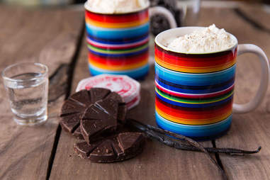 Mexican hot chocolate with mezcal