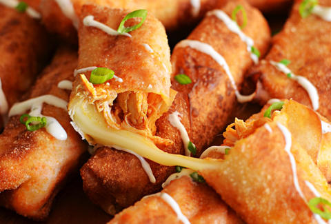 buffalo chicken mozzarella logs host the toast
