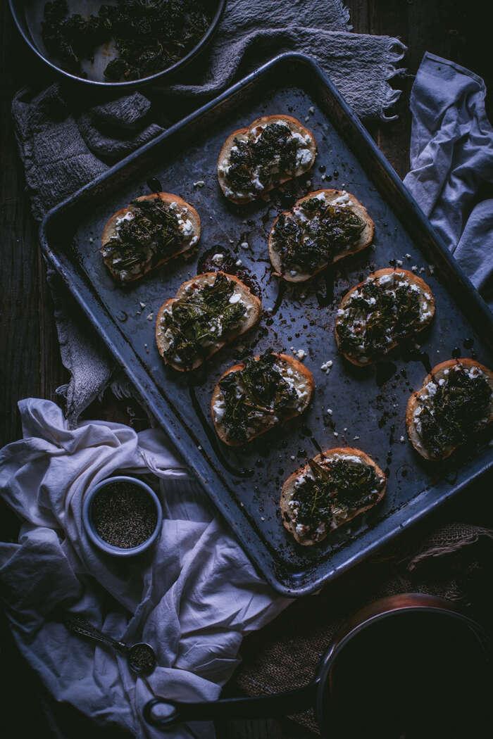Sauteed kale and goat cheese crostini
