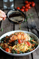 Brown butter, kale, and lobster pasta