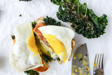 Kale grilled cheese with fried eggs