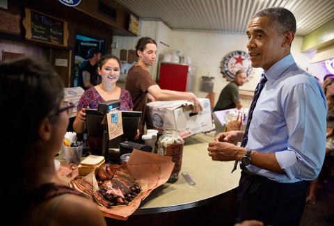Obama at Franklin Barbecue