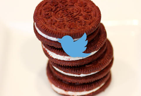 Red Velvet Oreos and Twitter logo