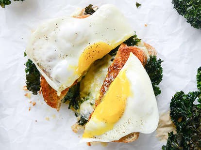 kale and egg grilled cheese
