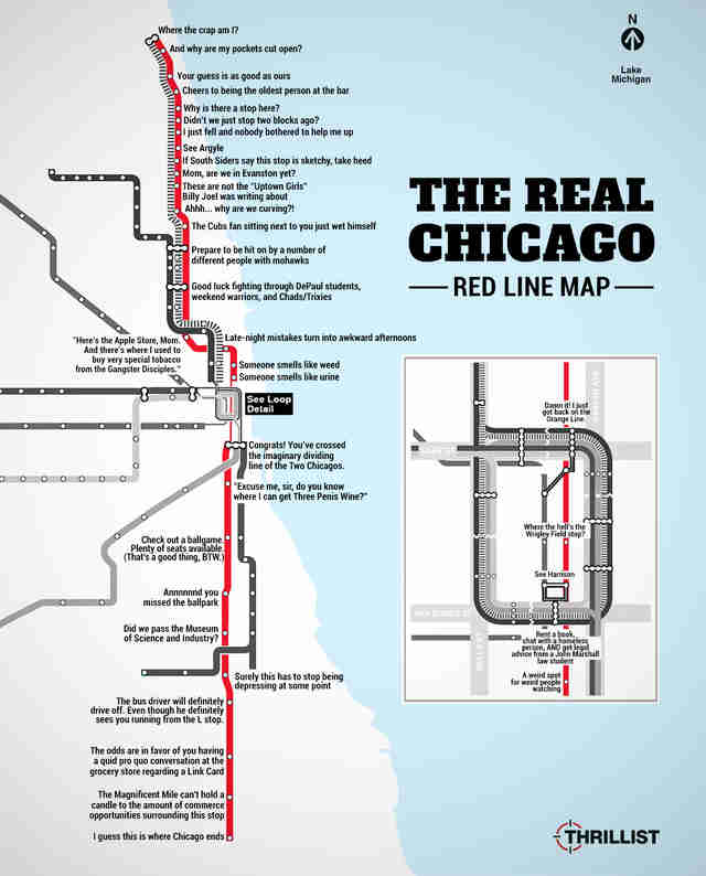 The Real Red Line Map - Chicago CTA - Thrillist Chicago Cta Map on
