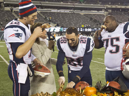 New England Patriots eating turkey
