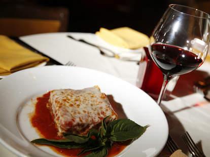 lasagna and a glass of red wine at ferraro's italian las vegas