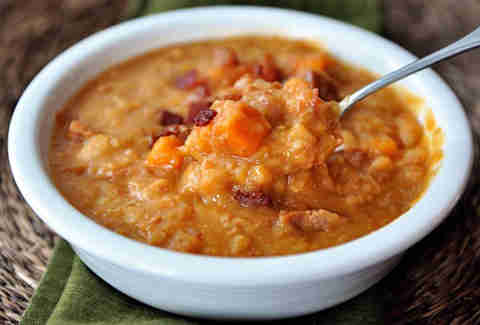 Ham, sweet potato, and white bean soup